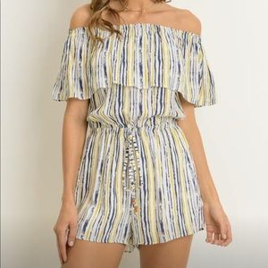 Pants - Off the shoulder romper